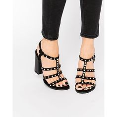 Call It Spring Perren Chunky Studded Heeled Gladiator Sandal ($81) ❤ liked on Polyvore featuring shoes, sandals, black, black chunky sandals, studded gladiator sandals, high heel sandals, roman sandals and chunky-heel sandals