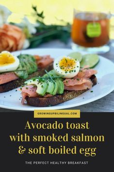 Avocado toast with salmon and soft boiled egg. Healthy, high protein breakfast perfect to start your day with lots of energy. Delicious Breakfast Recipes, Lunch Recipes, Healthy Recipes, Appetizer Recipes, Easy Recipes, Yummy Food, Boiled Egg Breakfast Ideas, Avocado Egg Recipes, Avocado Ideas