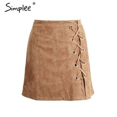 Lace up cross suede leather pencil skirt High waist lining skirt womens Zipper bodycon sexy short mini skirt summer