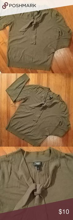 Fun and flirty l/s tee Army green long sleeve with a cute scoop neck with a tie. 60% cotton 40%rayon size med from talbots petites Talbots Tops Tees - Long Sleeve