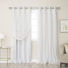 Rose Street Beige Lace 96 x 52 In. Overlay Blackout Curtains, Set of Two
