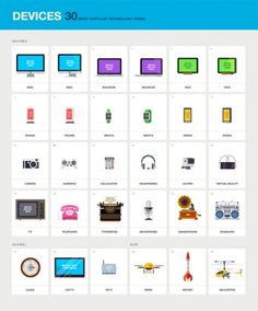 The set of devices includes 30 most popular technology items as pixel perfect web graphics.