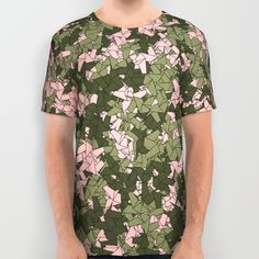 Origami Unicorn Camo PINK All Over Print Shirt by GrandeDuc | Society6