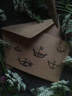 Handmade Cards with Petroglyph Ship designs — NorneWoven Iron Age, Kraft Paper, Reuse, Recycling, Birthdays, Greeting Cards, Prints, Handmade, Design