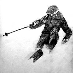 """""""Whiteout."""" drawing sketch graphite pencil art artist ski skiing Ski Drawing, Drawing Sketches, Painting & Drawing, Sketching, Pencil Art, Pencil Drawings, My Drawings, Skiing Tattoo, Mario Tattoo"""