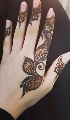 cool mehndi designs for fingers