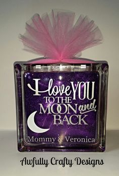 Personalized lighted glitter glass block by AwfullyCraftyDesigns