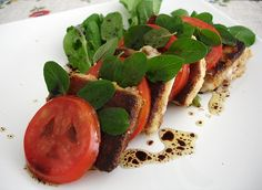 Crispy goat's cheese, tomato and basil salad.