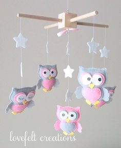 Baby mobile Owl mobile Baby Girl Mobile Nursery by LoveFeltXoXo Kids Crafts, Owl Crafts, Baby Crafts, Baby Mädchen Mobile, Baby Mobiles, Mobile Mobile, Owl Pet, Baby Owls, Baby Decor