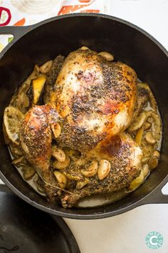 dutch oven grecian chicken- so easy, delicious and only 4 ingredients! Paleo and whole 30 compliant