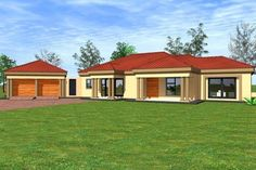 Overall Dimensions- x mBathrooms- 3 Car GarageArea- Square meters 4 Bedroom House Plans, My House Plans, House Floor Plans, Flat Roof House, Facade House, Bungalow House Design, House Front Design, Luxury Homes Dream Houses, Dream Homes