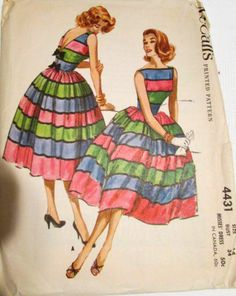 McCall's 4431 1958 rember that vouge pat  i posted 2 nights back..leave of the sleeves make skitrt fuller if skirt is a dirndel if its a A line leave that off and add a reg. dirndel skirt 1950s Dress Patterns, Dress Making Patterns, Mccalls Patterns, Vintage Sewing Patterns, Clothing Patterns, Fashion Illustration Vintage, Fashion Designer, Retro Pattern, Retro Dress