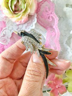 Phoenix black bird Midnight flight brooch pin Fifth avenue jewelry collection enamel genuine crystals Butler #etsy #jewelry #brooch #black #animals #silver #midnight #bird #phoenix #enamel