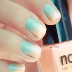 blue to nude ombre nails...