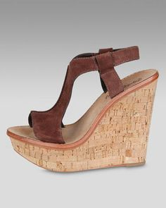 ShopStyle: Elizabeth and James Suede Slingback Cork Wedge