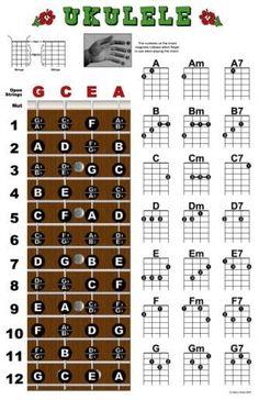 Ukulele Fretboard Chord Chart Poster Ukelele Uke | eBay