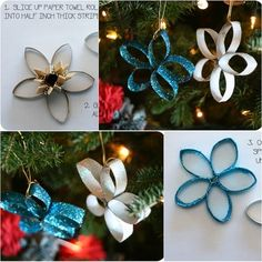 Make these Super easy but pretty Christmas ornaments from paper rolls with your kids.  Check tutorial--> http://wonderfuldiy.com/wonderful-diy-paper-roll-christmas-tree-and-star-ornaments/ #ornaments -  diy,  paper roll,  star