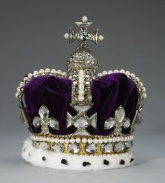 Crown of State of Mary of Modena, Queen consort of King James II, England (1685; gold, quartz crystals, pearls, velvet, ermine). Royal Collection © Her Majesty Queen Elizabeth II.