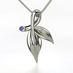 Laurel Leaf Pendant, Sterling Silver Necklace with Sapphire from Gemvara