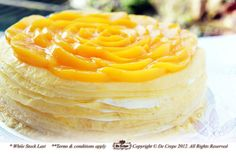 Peach Mille Crepe Cake  The France Style Mille Crepe Cake made using Hokkaido Milk with fresh layers of peaches
