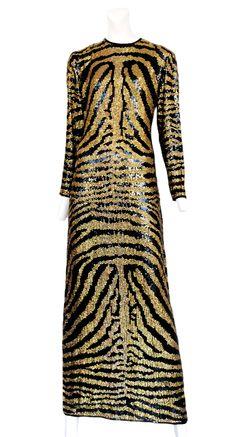 Halston Zebra Print Dress