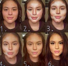 Face contouring with makeup