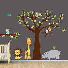 Vinyl Wall Decal, Tree Wall Decals, Monkey Wall Decal, Nursery Wall Decal, Jungle Wall Decal, Evergreen Design, brown trunk and Hippo. $120.00, via Etsy.