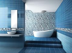 Architecture Cool Bathroom With Blue Mosaic Wall And Floor Design