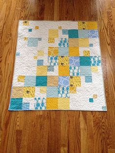 Yellow and blue baby quilt