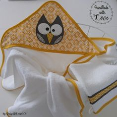 Couture, Boutique, Baby Hooded Towel, Baby Burp Rags, Owls, Layette, Bebe, Birth, Gifts