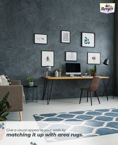 Spruce up your living room wall paint with complimentary rugs.