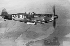 October 1939. RAF Spitfire from 609 Squadron Spitfire PR-B, the unit that brought down German bombers attacking the Firth of Forth