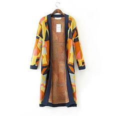 Women's Colorful Grid Long Sleeve Knit Maxi Sweater – USD $ 43.79
