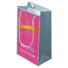 Beautiful personalised pink, blue & gold gift bag small gift bag