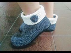 Pantuflas tejidas a crochet 🤗 Paso a paso - YouTube Crochet Boots, Crochet Slippers, Diy Crochet, Baby Knitting Patterns, Crochet Patterns, Crochet Slipper Pattern, Socks And Sandals, Knit Shoes, Doll Tutorial
