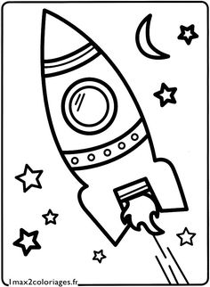 coloriage la fusee a decolle Plus Space Coloring Pages, Cute Coloring Pages, Coloring Sheets, Coloring Books, Space Crafts For Kids, Diy For Kids, Space Party, Space Theme, Halloween Drawings