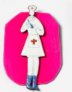 "JIYE YUN - ""nurse"" brooch iron, copper, enamel, paint marker, etc. 2013"