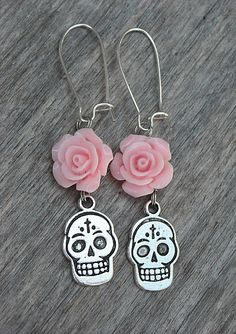 Day of the Dead Sugar Skull & Pink Roses Dia de los Muertos Earrings by InkandRoses13