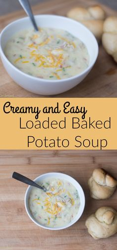 A creamy, loaded baked potato soup recipe that is so easy to throw together. We love serving this with warm garlic knots and on cold winter nights!