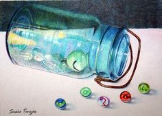 """Original Art Colored Pencil Painting of a Blue Glass Jar with Marbles    My original colored pencil drawing is a contemporary, realistic still life. It has bright blues, black, white and a pop of red. It is titled, """"Spilled Marbles"""". I use Prismacolor colored pencils on Stonehenge archival paper. I use from 6 to 12 layers of colored pencil to achieve vibrant, saturated color. The image size is 5"""" X 7""""."""