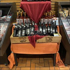Fine-Wine Dual Table-Drape Merchandising Retail Fixtures, Store Fixtures, Wine And Spirits, Fine Wine, Grand Opening, Visual Merchandising, Close Up, Alcohol, Table