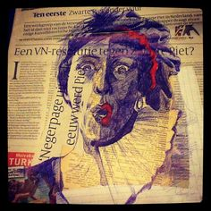23rd October - Zwarte Piet ... of niet (Dutch issue) #dailydrawing - bic, marker and collage on newspaper