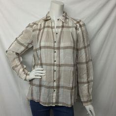 Free People- White Plaid Button Down Shirt - Suburban Casuals
