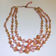 Fabulous Pink Faceted Irridescent Crystal and Lucite by JeweledLuv, $24.99