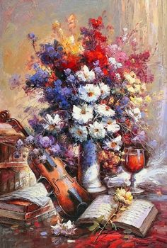 Alexei Khlebnikov / Алексей Хлебников ~ Still Life of Flowers painter Academic Art, Oil Portrait, Art Education, Different Styles, Still Life, Creative, Image, Modern Paintings, Art Paintings