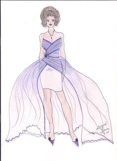 Purple Chiffon Dress with Overlay