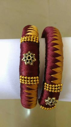 maroon n yellow silk thread bangles Silk Thread Bangles Design, Silk Thread Necklace, Silk Bangles, Thread Jewellery, Fabric Jewelry, New Jewellery Design, Terracotta Jewellery, Bangles Making, Thread Work