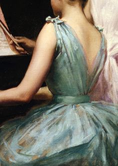 Painting, woman playing piano - The Sonata by Irving Ramsey Wiles, 1889 (detail) Art Magique, Classical Art, Renaissance Art, Love Art, Oeuvre D'art, Manet, Art History, Les Oeuvres, Painting & Drawing