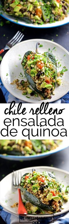Esta receta de chiles rellenos de ensalada de quinoa y frijol negro con tomates cherry rostizados y semillas de girasol es una verdadera delicia. Es una receta fáciles, rápida y con sabor a comida mexicana, mexicana vegana. via @piloncilloyv #recetasmexicanas