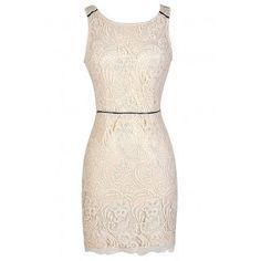 Open Back Beige Lace Dress $40